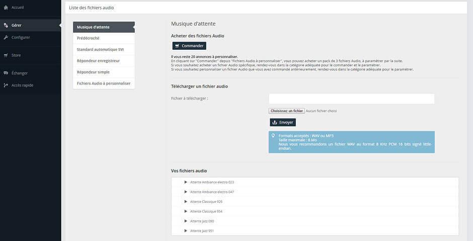 Vue sur l'interface de paramétrage en ligne de la musique d'attente du standard téléphonique