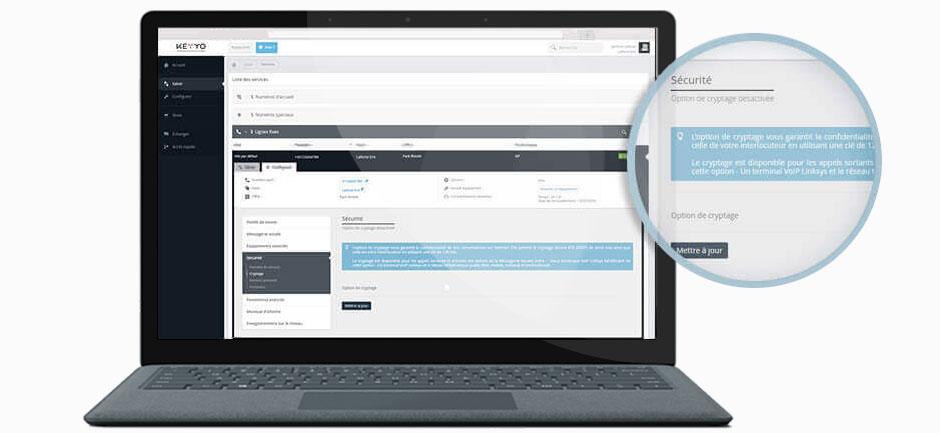 Vue sur l'interface Keyyo de paramétrage en ligne du cryptage des appels téléphoniques