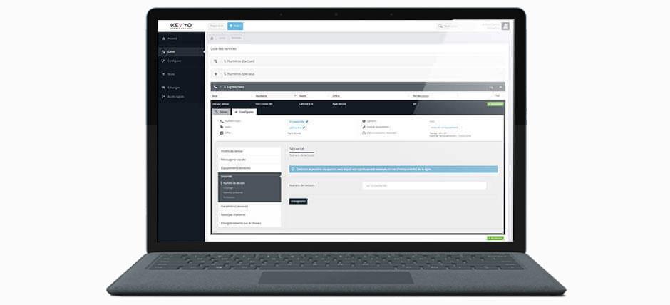 Vue sur l'interface Keyyo de paramétrage en ligne des numéros de secours pour renvoi des appels en cas d'incident