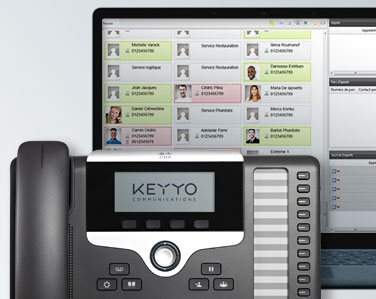 Photo des touches clignotantes d'une console de supervision d'un standard téléphonique
