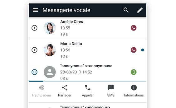 Vue sur la messagerie vocale visuelle depuis l'application Callpad de Keyyo
